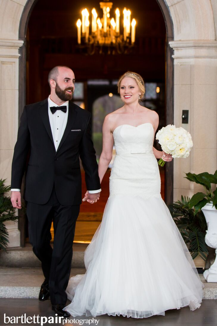 9dfe9e67ed3 Formal Groom in Tuxedo and Bride in Strapless Wedding Dress at Mansion  Wedding