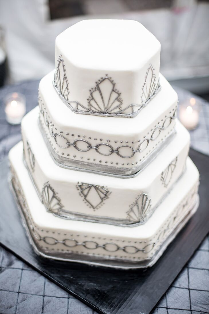 Silver Hexagonal Art Deco Wedding Cake