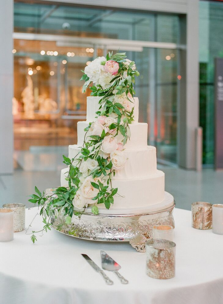 Classic Wedding Cake with Cascading Greenery