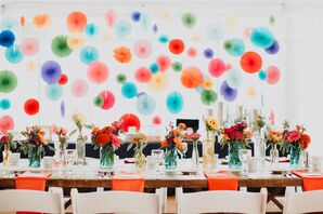 Colorful Wall of Hanging Paper Lanterns