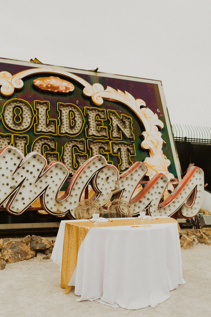 Modern Sweetheart Table at the Neon Museum in Las Vegas, Nevada
