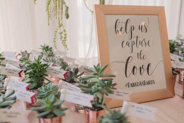 Succulent Wedding Favors in Rose Gold Pots