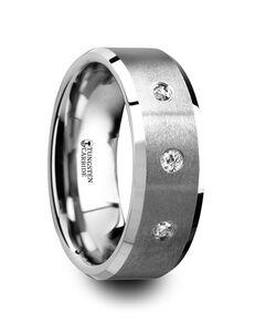 Mens Tungsten Wedding Bands W4285-TCWD Tungsten Wedding Ring