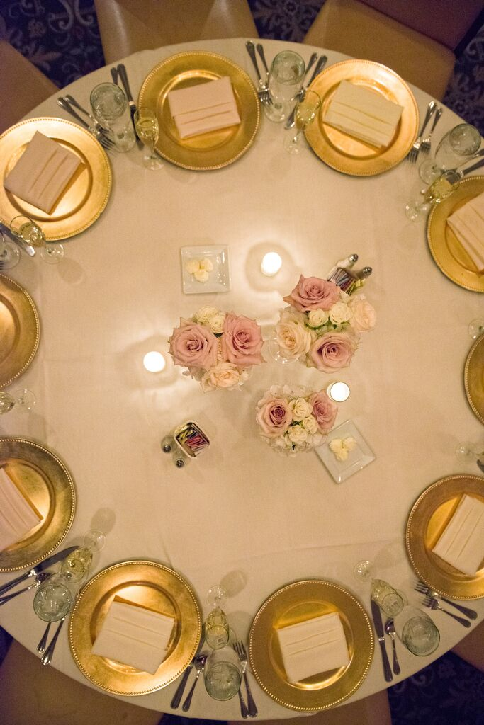 Ivory Linens and Gold Charger Reception Decor