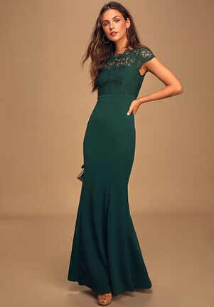 Lulus Hopeful Romantic Hunter Green Lace Mermaid Maxi Dress Bateau Bridesmaid Dress