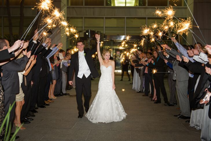Allison and Jonathan's Sparkler Exit