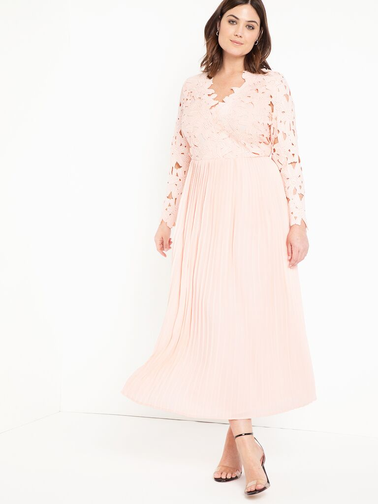Pink plus size maxi dress with lace bodice and long sleeves