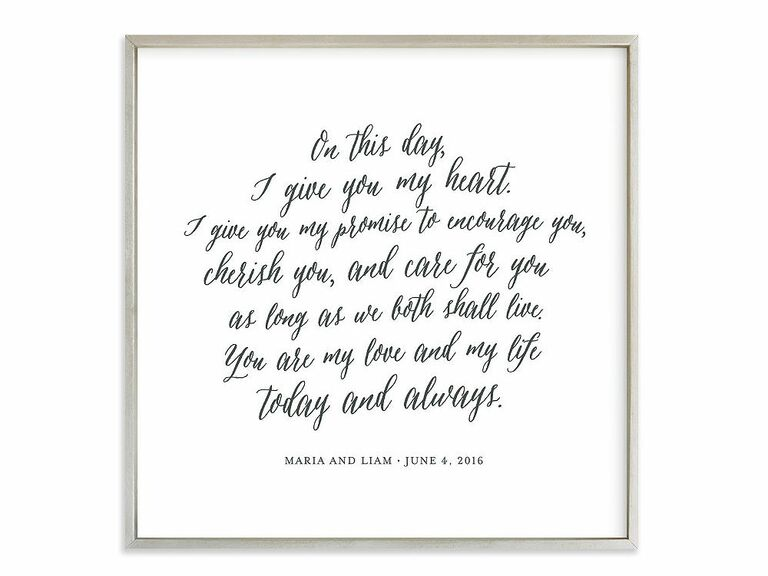 Vows art print 10 year anniversary gift for her  sc 1 st  The Knot & 10-Year Anniversary Gift Ideas for Her Him and Them