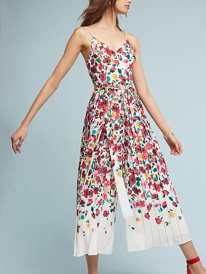 Floral jumpsuit perfect for summer weddings, Violette Floral Jumpsuit from Anthropologie