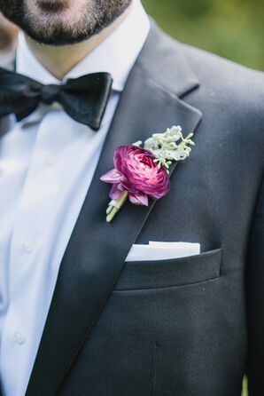 Fuchsia and Seeded Eucalyptus Boutonniere