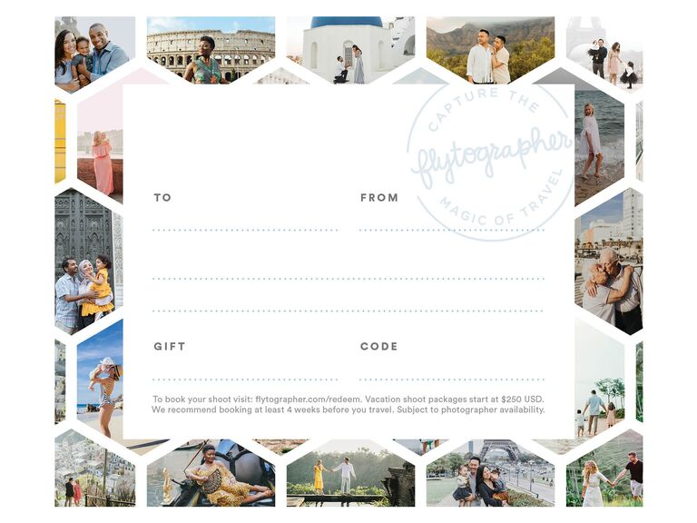 Photo shoot gift card engagement present for couple