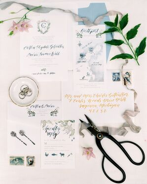 Preppy Invitation Suite with Calligraphy, Watercolor Illustrations and Custom Crest