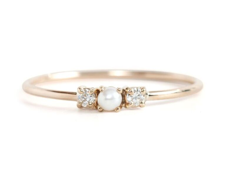 elegant pearl birthstone ring