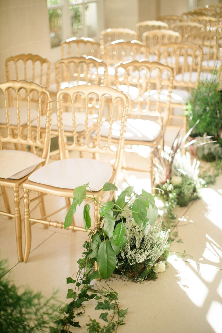 Gold Ceremony Chairs and Organic Vine Aisle Runner