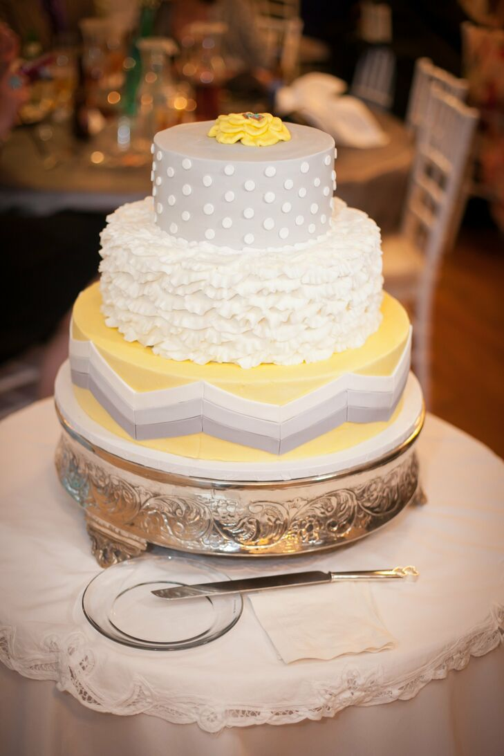 Gray and Yellow Wedding Cake