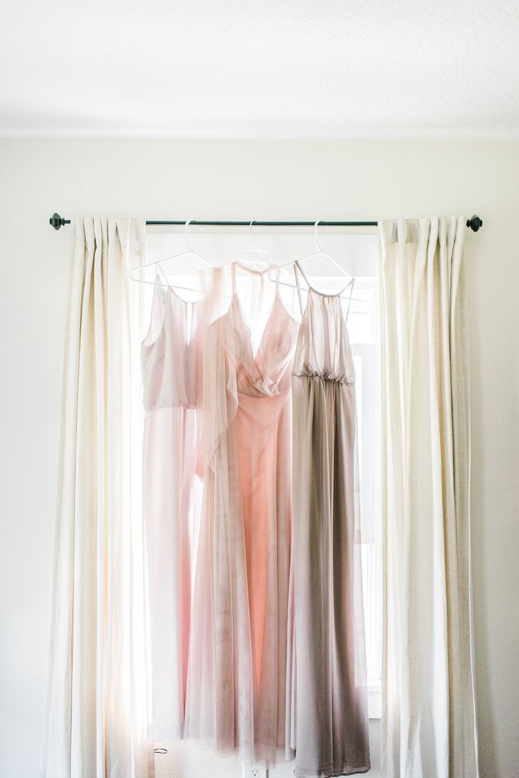 Neutral-Tone Bridesmaid Dresses in Window