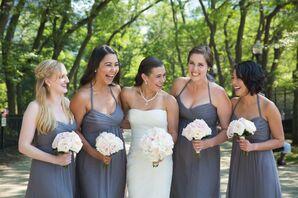 Gray Chiffon Amsale Bridesmaid Dresses