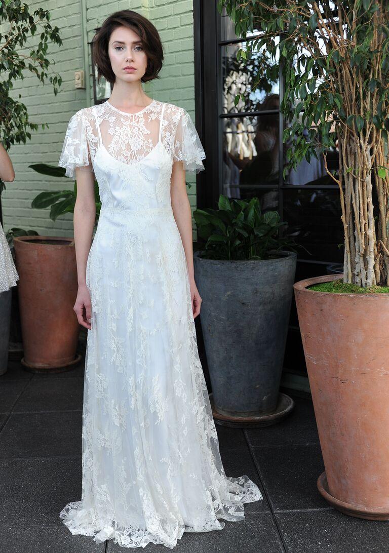 Sarah Seven Fall 2016 Collection Wedding Dress Photos - Flutter Sleeve Wedding Dress