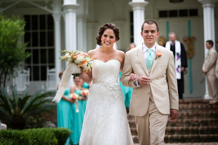 Madeline knew she wanted a dress that would go with her romantic, historic wedding venue. She found the perfect classic dress by Sassi Holford. She loved the strapless sweetheart neckline, A-line silhouette and lace detailing.
