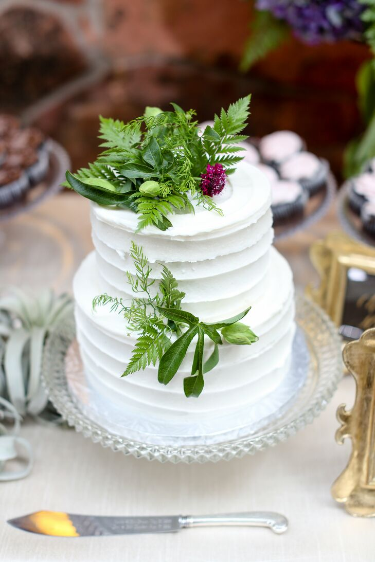 Two Tiered Fern Accented Wedding Cake