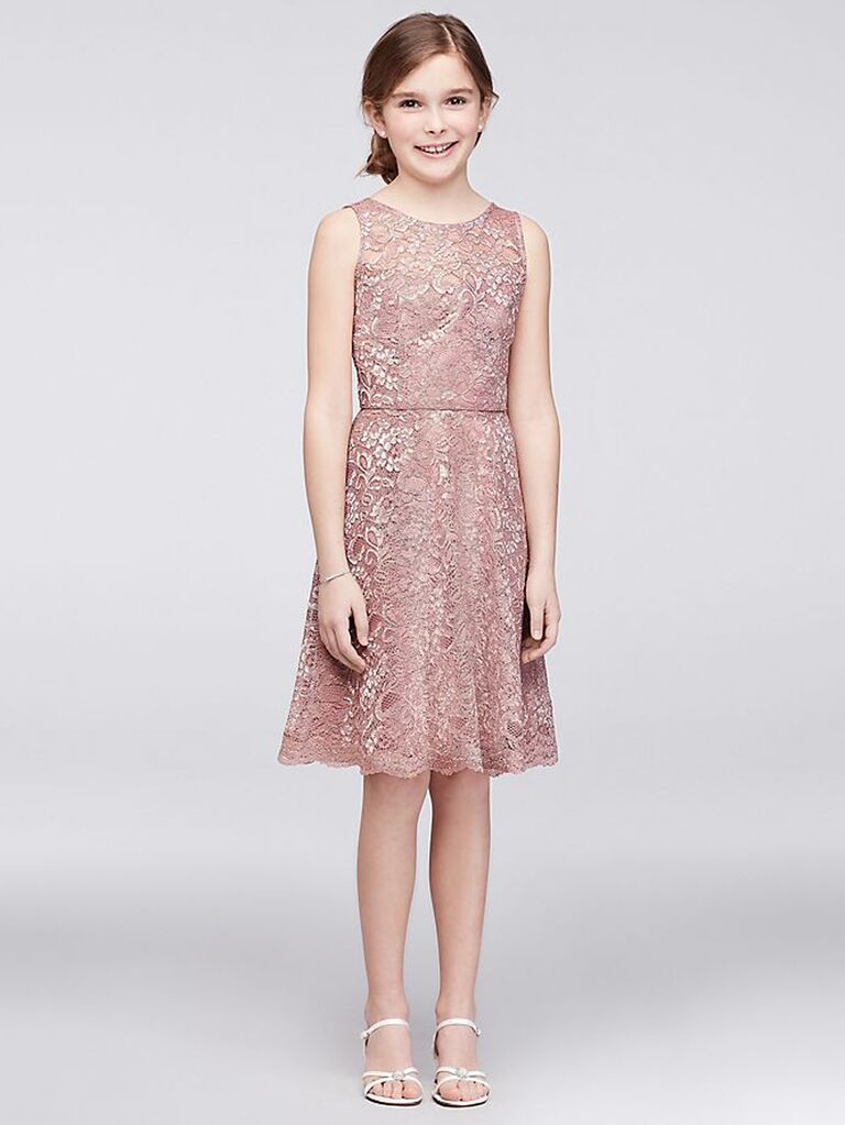Short blush lace junior bridesmaid dress