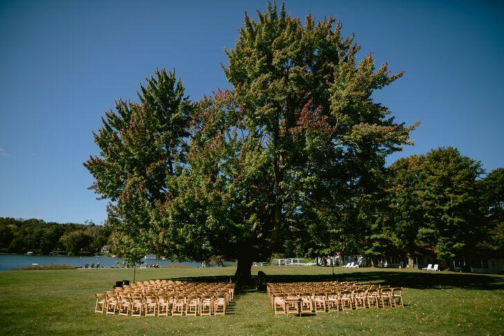 Ceremony Setup Under Towering Tree