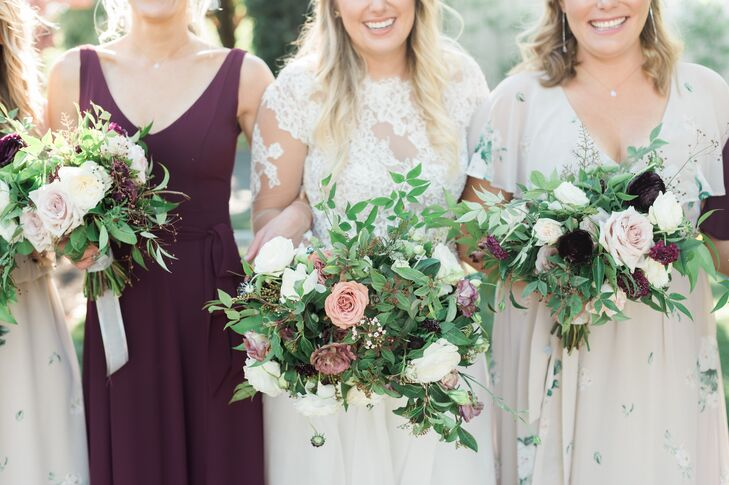 Romantic Bouquets with Smilax and Roses