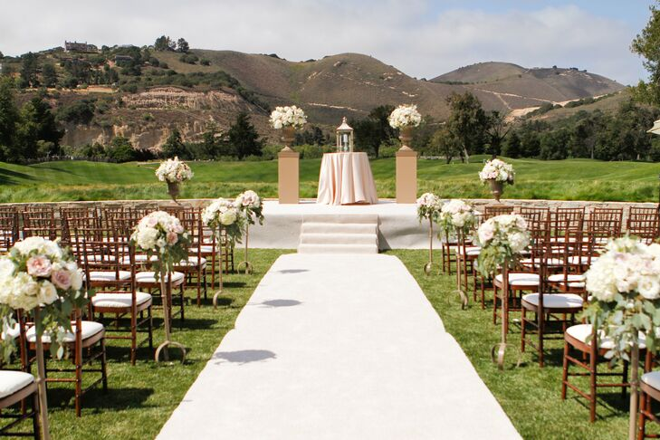 While Gena and Vittorio exchanged vows, guests looked at the amazing Carmel, California landscape in the background.