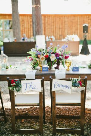 Sweetheart Chairs with Personalized Name Signs