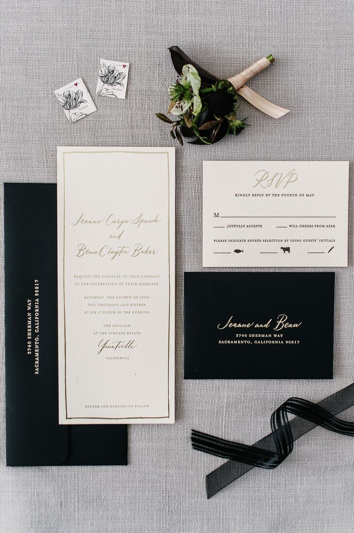 Jeanne and Beau's black-and-white invitations set the tone for the event. They were elegant and classic but still eye-catching.