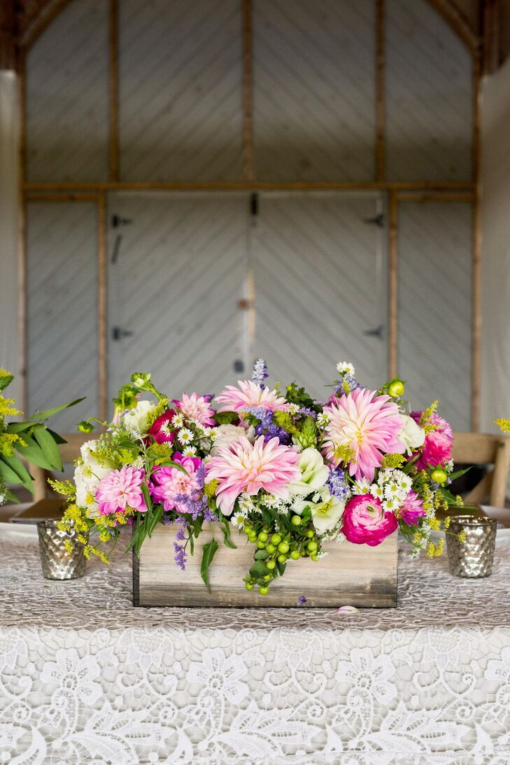 Pink Dahlia and Ranunculus Centerpiece in Wooden Planter