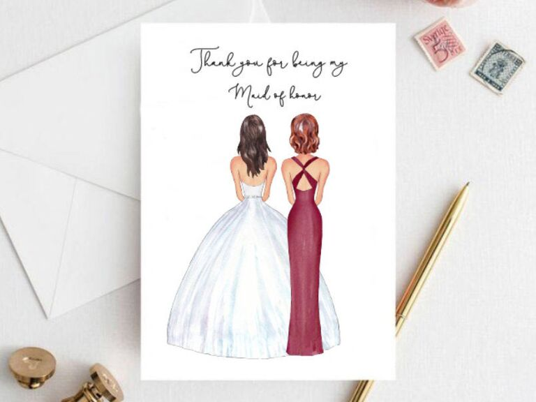 customized thank you maid of honor card