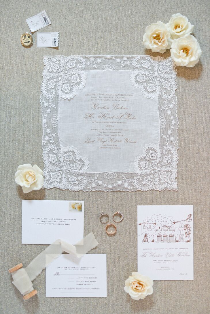 Custom Lace Invitations with Embroidery