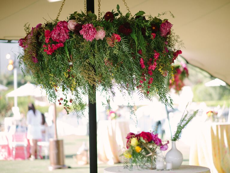 Lush leaf chandelier with pink flowers