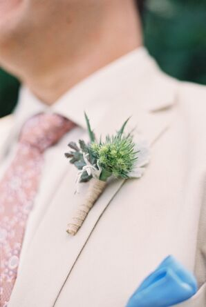 Green and Tan Succulent Boutonniere