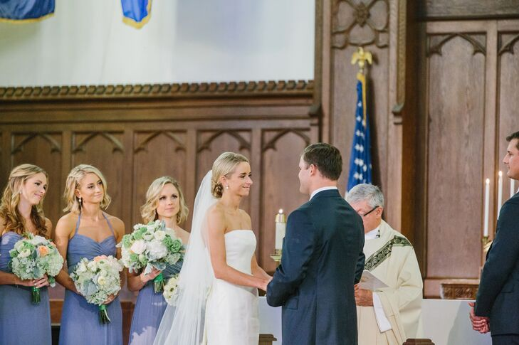 Colleen and Robbie carried their royal blue and kelly green color palette throughout their Citadel Summerall Chapel ceremony with hydrangea, rose and lush greenery arrangements.