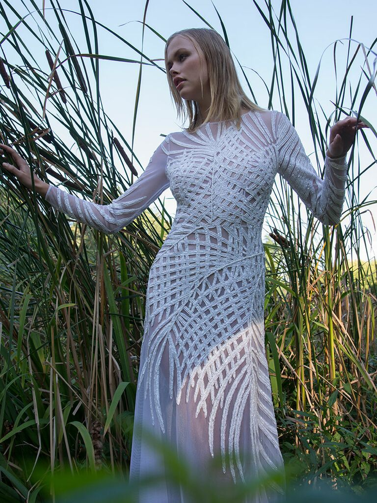 Persy Fall/Winter 2018 sheer sheath long sleeve wedding dress with palm leaf embroidery