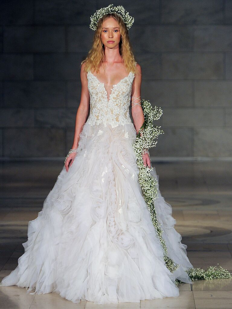 Reem Acra Fall 2018 V-neck wedding dress with lace bodice and ruched skirt