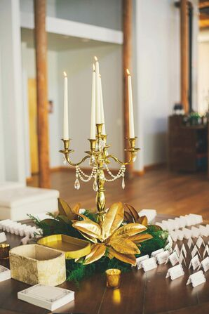 Gold Candelabra Escort Card Table Decor
