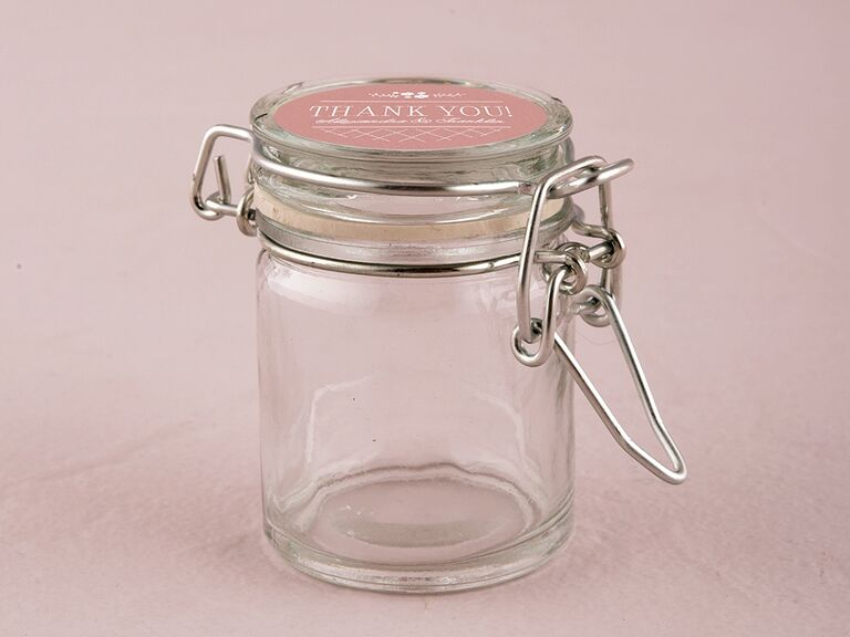 Personalized glass favor jars with snap lid