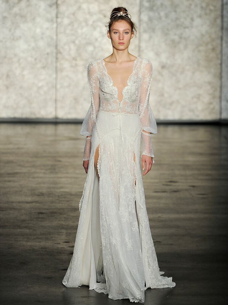 Inbal Dror Fall 2018 Lace Long Sleeve Wedding Dress With Double Front S