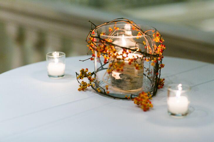 Birch-Wood Candle Centerpiece