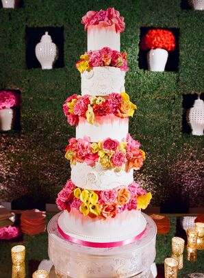 Tall Five-Tier Cake with Bright Calla Lilies, Peonies and Ranunculus