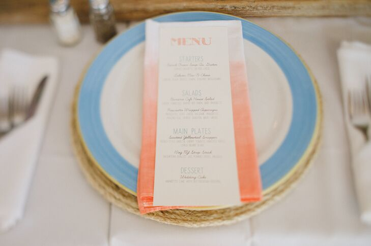 The invitations, wedding program fans, and menus were all made in Adobe Photoshop and printed on watercolor and card-stock paper.