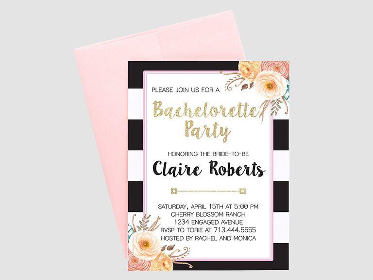 floral bachelorette party invite