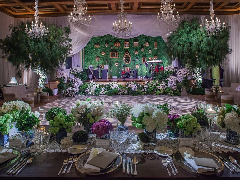 Flower box reception dance floor idea