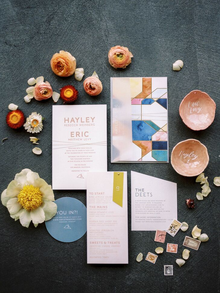 Colorful Invitations and Paper Goods with Modern Typography