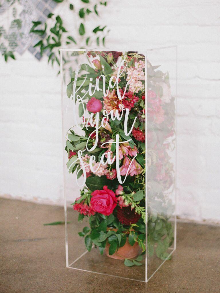 Acyrlic box with flowers inside as modern wedding floral decor
