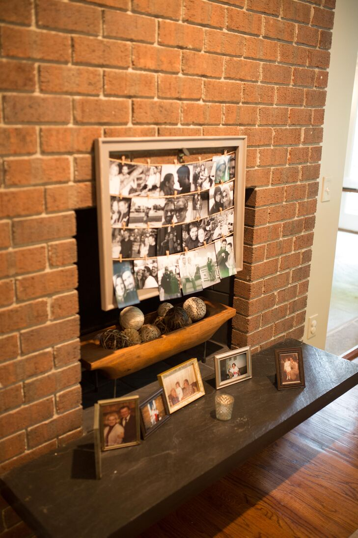 Mandy created a black-and-white photo display using wooden frames she painted and distressed and twine for hanging the photos.