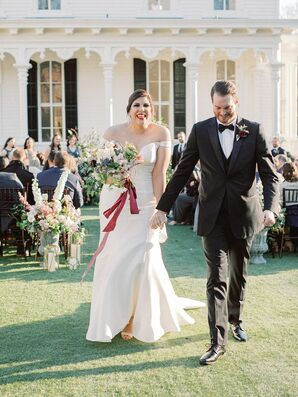 Bride and Groom Recessional at North Carolina Wedding at The Merrimon-Wynne House